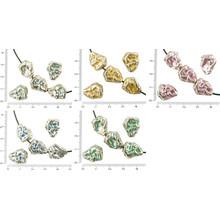 4pcs de Antig/üedades de Plata Tono de Grandes Pepitas de oro Salpicado de piedras de Imitaci/ón de Perlas de Dos Caras 13mm x 15mm