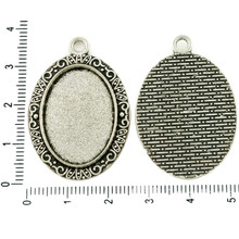 24mm x 48mm matching Glass Cabochons x 2 Silver Plated Rectangle Pendant Frames