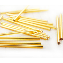 Vintage Czech Bugle Beads Straight Silver Lined Straw Gold 20mm 15g 10406002